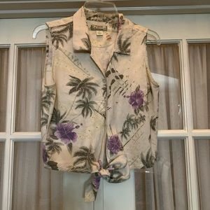 Tommy Bahama tropical print sleeveless button down